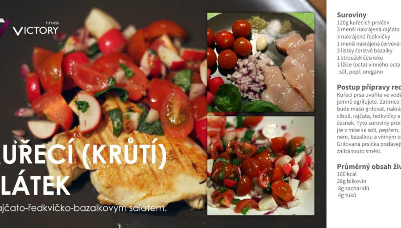 Kuřecí (krůtí plátek) s rajčato-ředkvičko-bazalkovým salátem